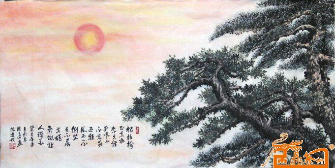 国画 - 松柏树